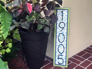 Vertical Address Sign, House Number Sign, Green Street Mosaics