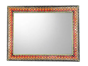 Mixed Materials Mosaic Mirror, Rectangular Mosaic Mirror, Green Street Mosaics
