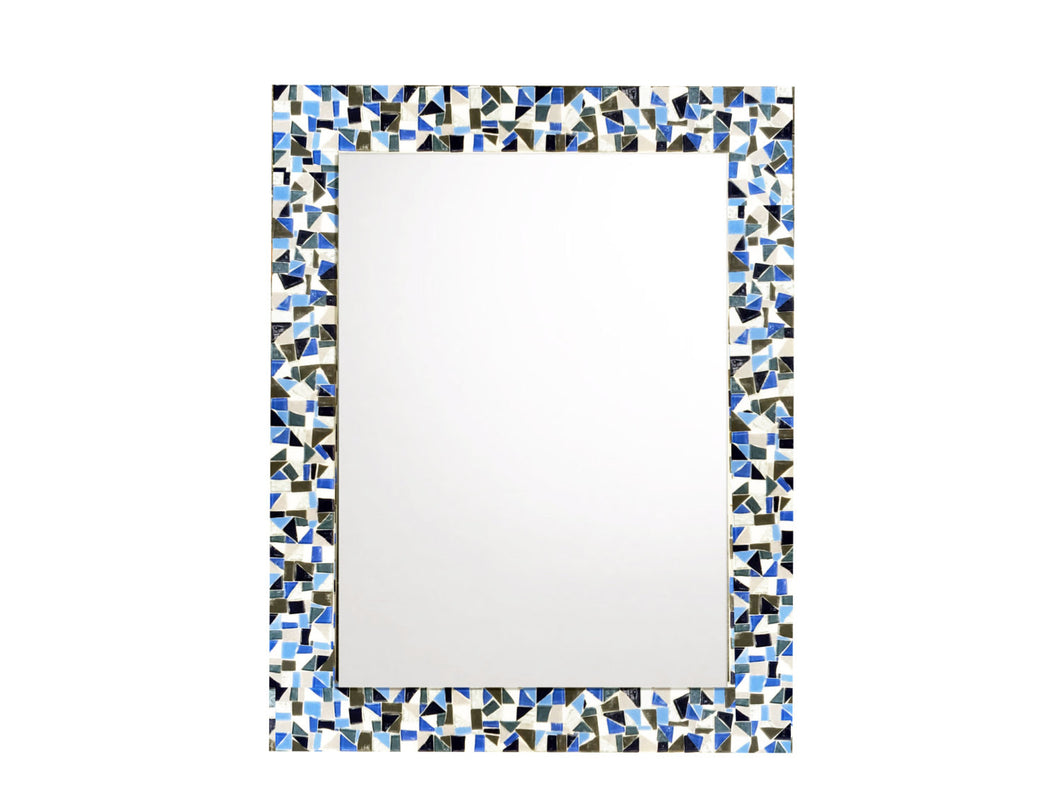 Blue Gray White Mosaic Mirror, Rectangular Mosaic Mirror, Green Street Mosaics