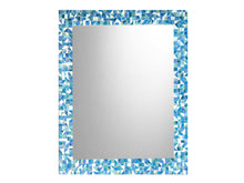 Blue, Aqua, Teal Bathroom Wall Mirror, Rectangular Mosaic Mirror, Green Street Mosaics