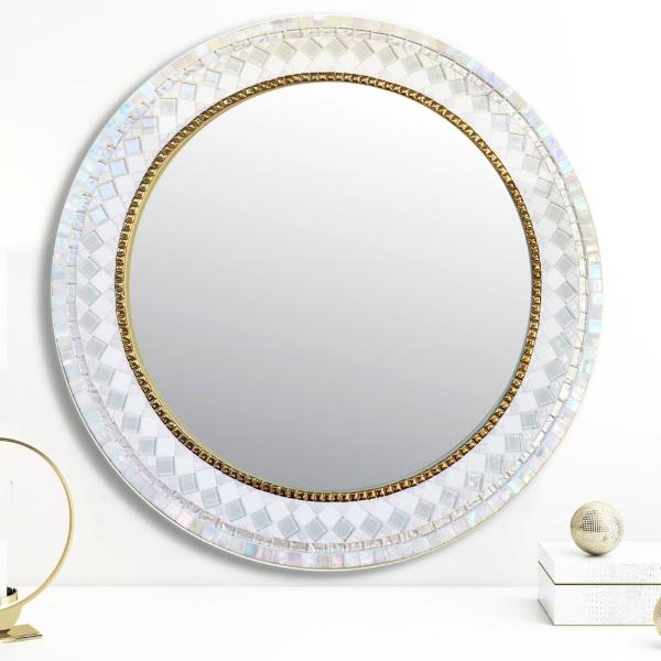 White And Gold Mosaic Mirror Green Street Mosaics