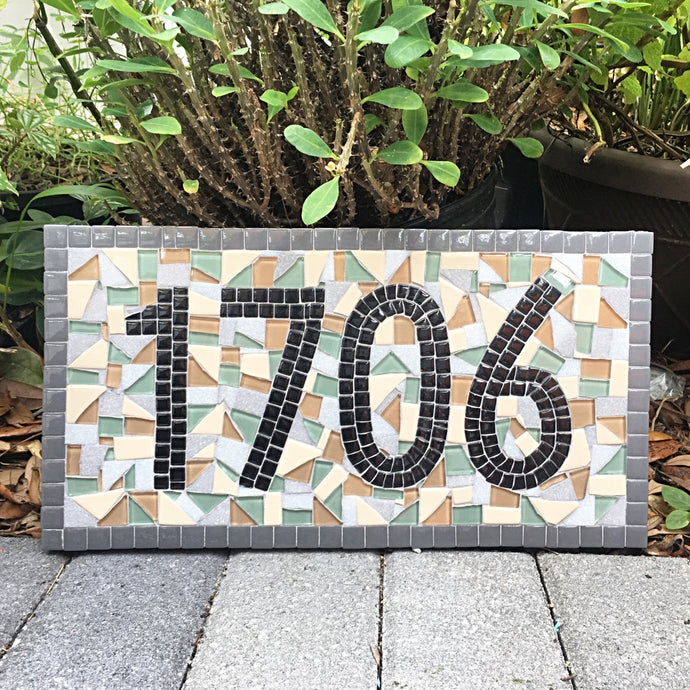 Personalized Housewarming Gift, House Number Sign, Green Street Mosaics