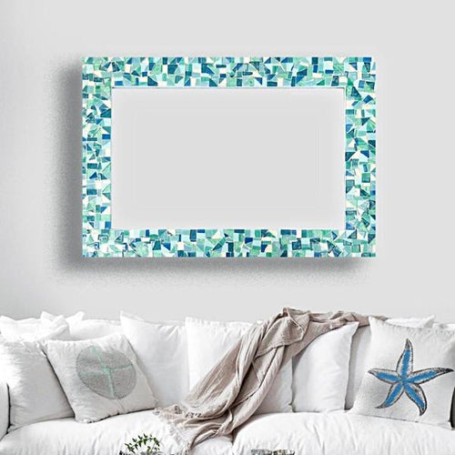 Decorative Wall Mirror, Rectangular Mosaic Mirror, Green Street Mosaics