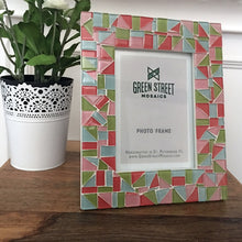 Mosaic Picture Frame Pink Aqua Green, Picture Frame, Green Street Mosaics