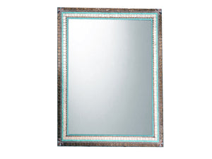 Large Mosaic Mirror Copper Aqua and Brown, Rectangular Mosaic Mirror, Green Street Mosaics