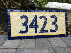 Blue and Yellow Mosaic Address Plaque, House Number Sign, Green Street Mosaics