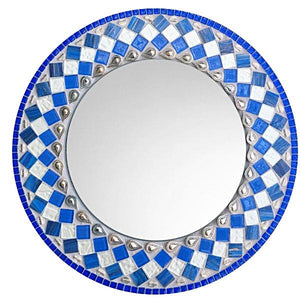 Blue and White Mosaic Wall Mirror