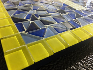 Blue and Yellow House Number Sign, House Number Sign, Green Street Mosaics