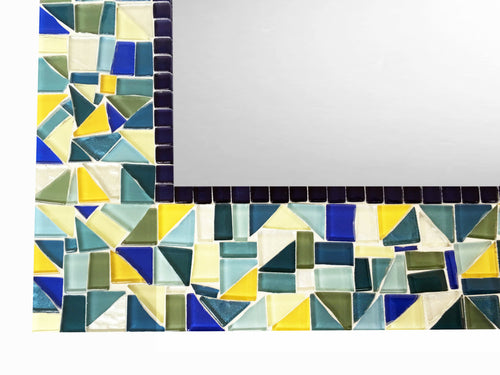 Blue Yellow Green Mosaic Mirror, Rectangular Mosaic Mirror, Green Street Mosaics