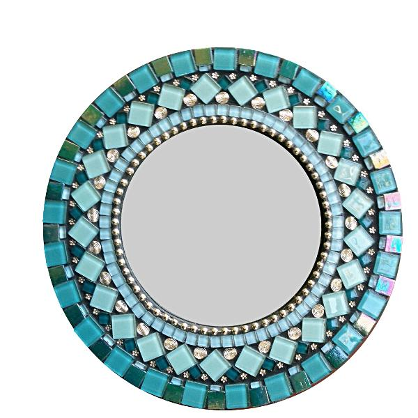 Unique Round Wall Mirror Teal and Silver