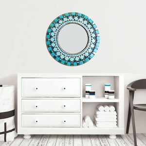 Unique Round Wall Mirror Teal and Silver, Round Mosaic Mirror, Green Street Mosaics