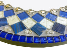 Blue and White Mosaic Wall Mirror, Round Mosaic Mirror, Green Street Mosaics