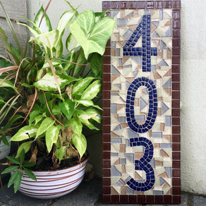 Custom Mosaic House Number Sign, House Number Sign, Green Street Mosaics