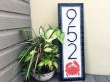 Address Plaque with Crab, House Number Sign, Green Street Mosaics