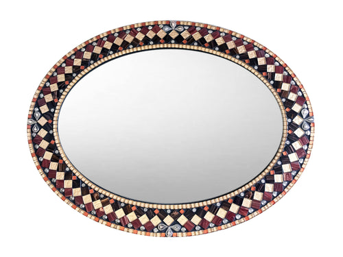 Ornate Wall Mirror, OVAL Mosaic Mirror, Green Street Mosaics