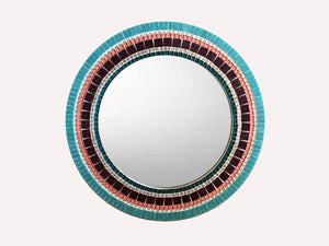 Round Mirror for Bedroom, Round Mosaic Mirror, Green Street Mosaics