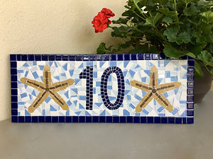 Blue House Number Plaque with Starfish, House Number Sign, Green Street Mosaics