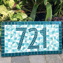 Teal Mosaic Address Sign, House Number Sign, Green Street Mosaics