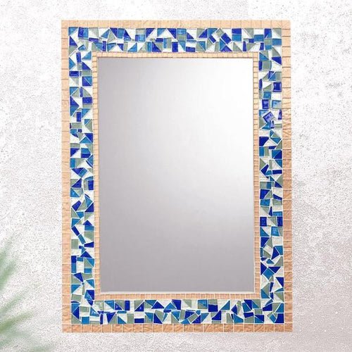Decorative Mosaic Wall Mirror -- Blue and Copper, Rectangular Mosaic Mirror, Green Street Mosaics