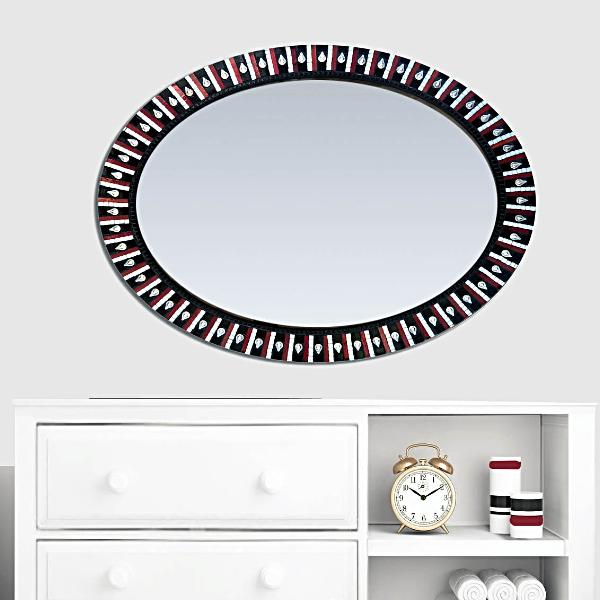 Black White and Red Oval Mosaic Mirror