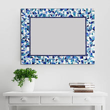 Blue Mosaic Mirror, Rectangular Mosaic Mirror, Green Street Mosaics