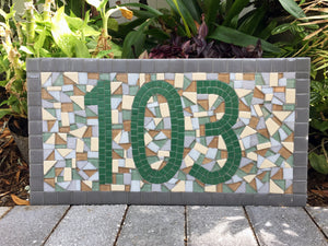 Green and Gray House Numbers, House Number Sign, Green Street Mosaics