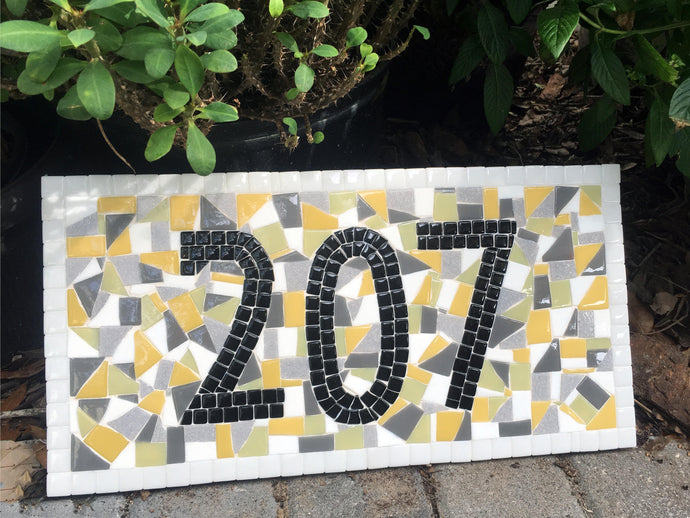 House Number Sign Yellow and Gray, House Number Sign, Green Street Mosaics
