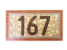 Brown and Tan Address Sign, House Number Sign, Green Street Mosaics