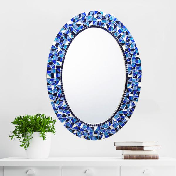 Blue and White Mosaic Mirror, OVAL Mosaic Mirror, Green Street Mosaics