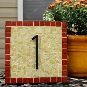 Red and Yellow Address Sign, House Number Sign, Green Street Mosaics