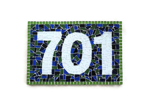 Blue and Green Address Sign, House Number Sign, Green Street Mosaics