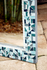 Teal, White, Gray Mosaic Wall Mirror, Rectangular Mosaic Mirror, Green Street Mosaics
