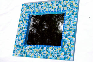 Lime Green and Teal Mosaic Mirror, Rectangular Mosaic Mirror, Green Street Mosaics