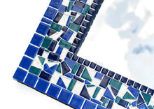 Blue Mosaic Wall Mirror, Rectangular Mosaic Mirror, Green Street Mosaics
