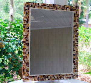 Brown Mosaic Wall Mirror, Rectangular Mosaic Mirror, Green Street Mosaics