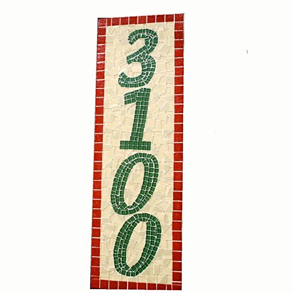 Red Yellow Green Mosaic Address Sign