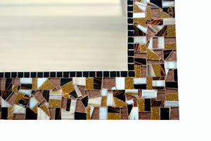 Brown and Black Mosaic Wall Mirror, Rectangular Mosaic Mirror, Green Street Mosaics