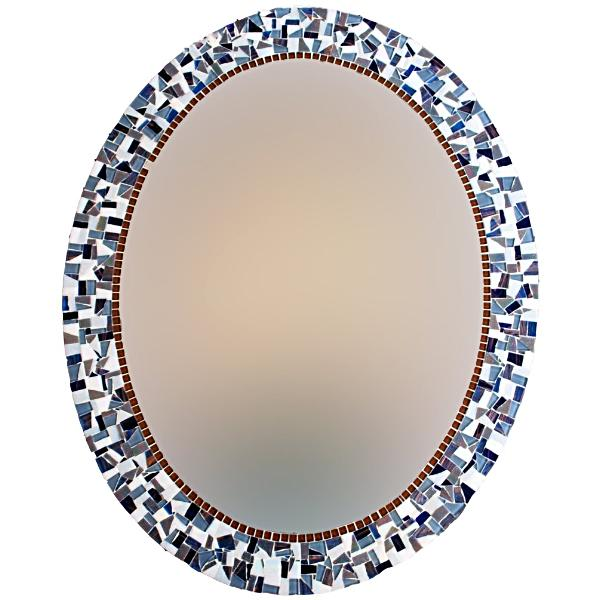 Oval Wall Mirror Blue and Gray, OVAL Mosaic Mirror, Green Street Mosaics