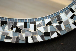 Black and White Mosaic Mirror, OVAL Mosaic Mirror, Green Street Mosaics