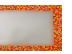Mosaic Mirror - Red, Orange, Yellow, Rectangular Mosaic Mirror, Green Street Mosaics