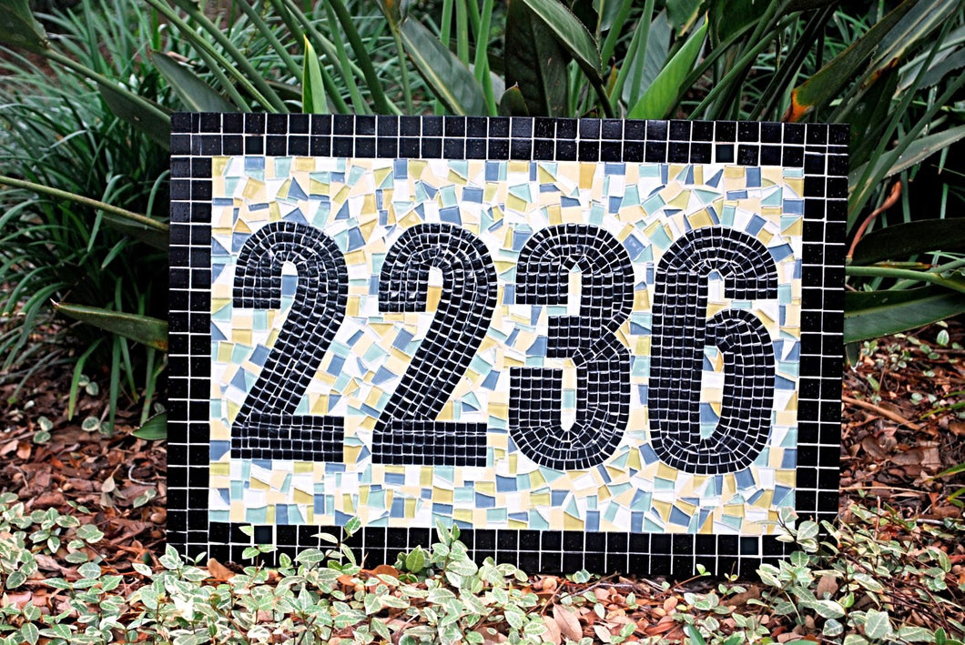 Large Mosaic Address Sign, House Number Sign, Green Street Mosaics