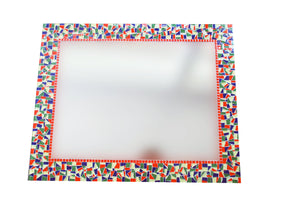 Red Green and Yellow Mosaic Mirror, Rectangular Mosaic Mirror, Green Street Mosaics