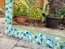 Aqua and Lime Green Mosaic Mirror, Square Mosaic Mirror, Green Street Mosaics