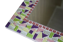 Pink Purple Green and Yellow Mirror for Nursery, Rectangular Mosaic Mirror, Green Street Mosaics
