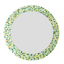 Yellow and Green Round Mosaic Mirror, Round Mosaic Mirror, Green Street Mosaics