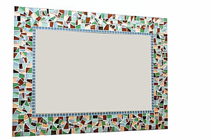 Green and Brown Mosaic Mirror, Rectangular Mosaic Mirror, Green Street Mosaics
