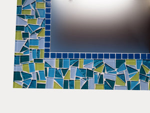 Lime Green and Turquoise Square Mosaic Wall Mirror, Square Mosaic Mirror, Green Street Mosaics