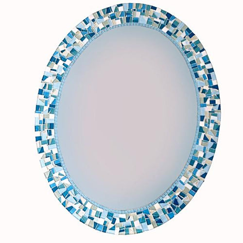 Blue and Aqua Oval Mosaic Mirror, OVAL Mosaic Mirror, Green Street Mosaics