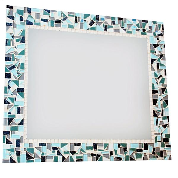 Teal, White, Gray Mosaic Wall Mirror