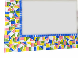 Handcrafted Mosaic Mirror - Blue, Pink, Green, Yellow, Rectangular Mosaic Mirror, Green Street Mosaics